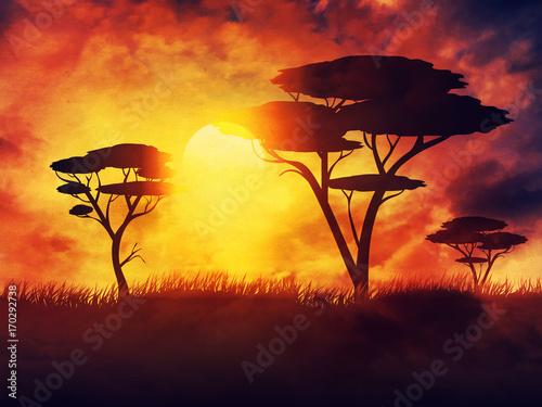 In de dag Baksteen Sunset Summer Landscape
