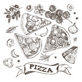 Set of pieces of delicious pizza and pizza ingredients. Food elements collection. Vector ink hand drawn illustration. Template for menu, signboard, cards, banners, posters design. - 170296719