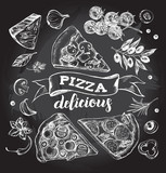 Set of pieces of delicious pizza and pizza ingredients. Food elements collection. Vector ink hand drawn illustration with lettering. Template for menu, signboard, cards, banners, posters design. - 170296774