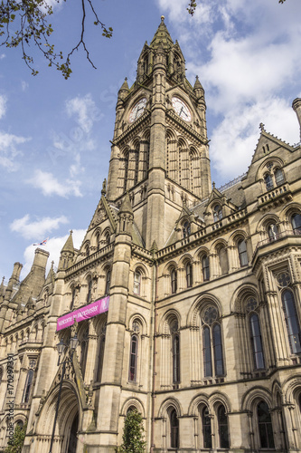 Manchester Town Hall in Albert Square, seat of local government, is an example of Victorian era Gothic revival architecture.