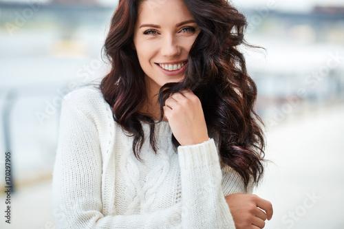 lovely beautiful woman in a woolen sweater. Beauty concept