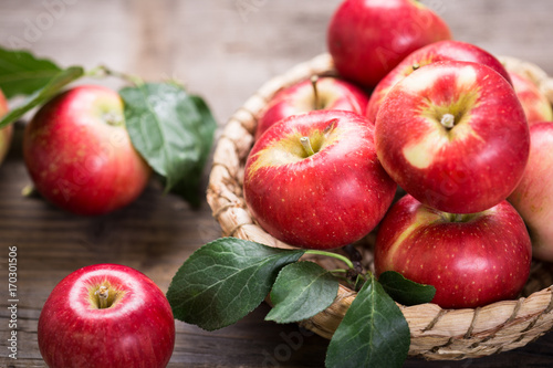 Fresh red apples in the basket - 170301506