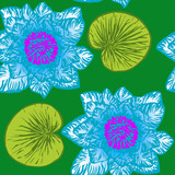 Lotus (water lily) flowers, hand drawn doodle, sketch in pop art style, seamless pattern design on green background