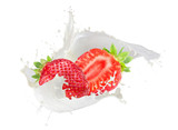 strawberries with milk splash isolated on a white background - 170301957