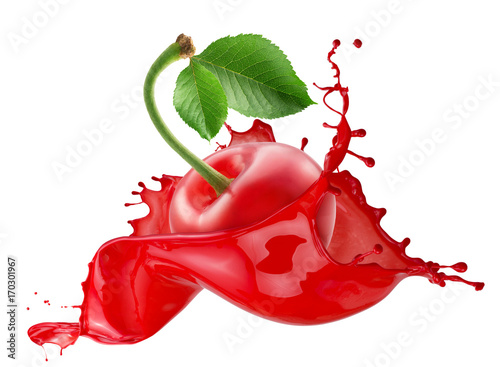 Aluminium Kersen cherry in juice splash isolated on a white background