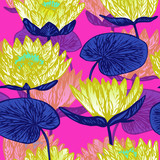 Yellow lotus (water lily) flowers, hand drawn doodle, sketch in pop art style, seamless pattern design on pink background