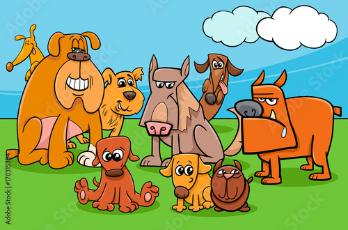 funny cartoon dog characters group