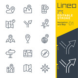 Lineo Editable Stroke - Navigation and Map line icons