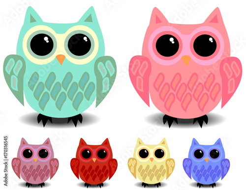 Aluminium Uilen cartoon A set of six cute owls with black eyes, cartoon style, different colors