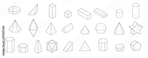 set of Basic 3d geometric shapes. Geometric solids vector  illustration  isolated on a white background.