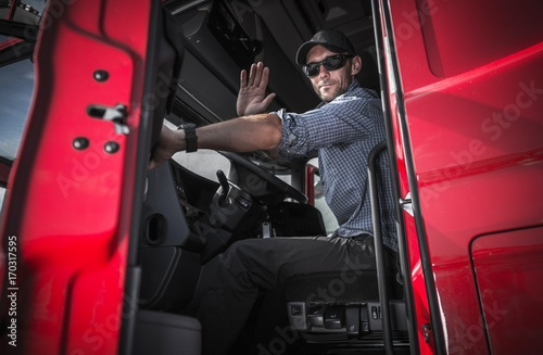 Fototapeta Truck Driver Leaving Warehouse
