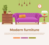 Living room cozy interior with colorful sofa - 170318372