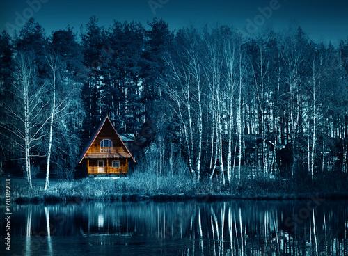 Dark forest in fall season, halloween night