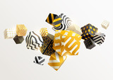 Composition of gold and black 3D cubes. Abstract vector illustration. - 170321792