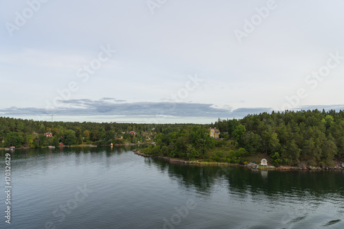 Foto op Canvas Wit Scandinavian landscape with islands,view from sea