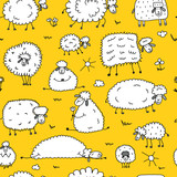 Flock of sheeps, seamless pattern for your design - 170328120