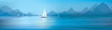 Vector blue sea, sky  background and yachts. - 170329508