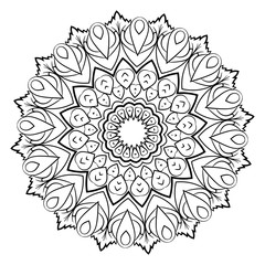 A beautiful monochrome mandala. Hexagonal star. A pattern for a color book. Template for printing on fabric. Image for meditation. Stylization for the Gothic style.