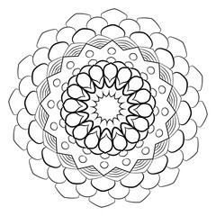 A beautiful monochrome mandala. Hexagonal star. A pattern for a color book. Picture for the album. Template for printing on fabric. Image for meditation. Coloring element.