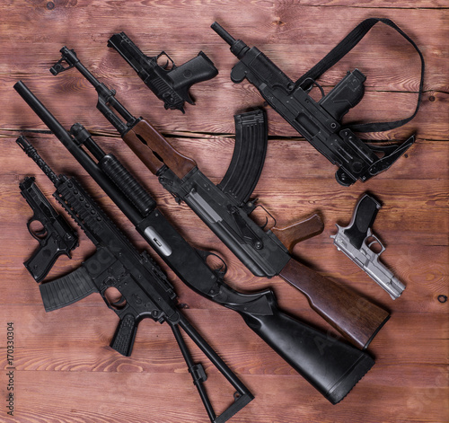 Poster arsenal of firearms, assault rifles and pistols