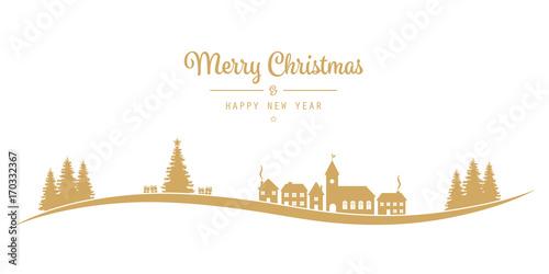 Papiers peints Blanc christmas lettering winter landscape village golden