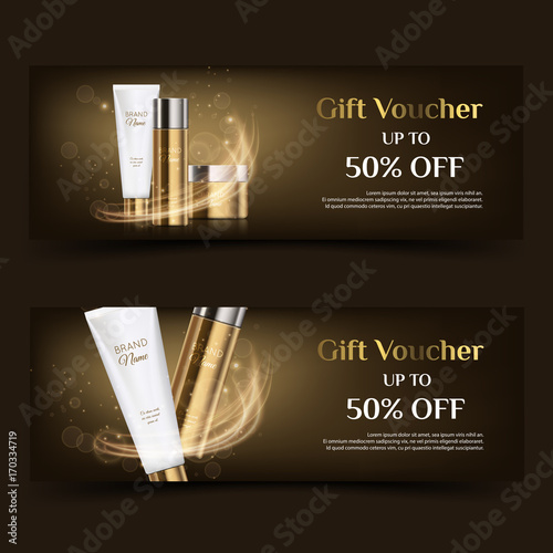 A beautiful cosmetic banner or gift voucher, realistic 3d white tube gold bottle and jar ready for design and print. Modern illustration for advertising
