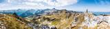 Alpenpanorama Wallis mit Steinpyramide, Alpen im Valais, la Brinta, von Vercorin nach Grimnetz, Eifischtal, Schweiz  - 170340560
