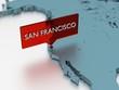 3d world map sticker - City of San Francisco