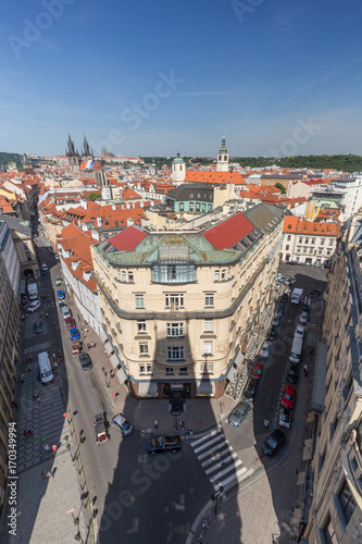 Fotobehang Praag Old Town in Prague, Czech Republic, viewed from above from the Powder Tower on a sunny day.