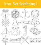 Drawn Doodle Lined Icon Set Seafaring I