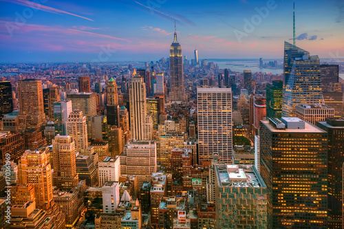 Aluminium New York Colorful twilight scene in Manhattan