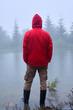 Tourist standing alone near Lake Synevyr