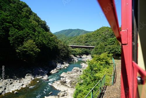 Aluminium Kyoto 京都嵯峨野 トロッコ列車から見た保津川渓谷の風景