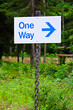 A one way sign with an direction arrow