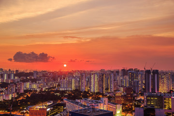 cityscape of Singapore city at sunset