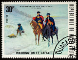 George Washington and general Lafayette on postage stamp - 170386554