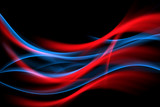 Glowing red and blue flowing waves background. Abstract idea home interior design. - 170393169