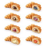 Fototapety Sliced croissant with chocolate, jam, condensed milk and cream isolated on white background.