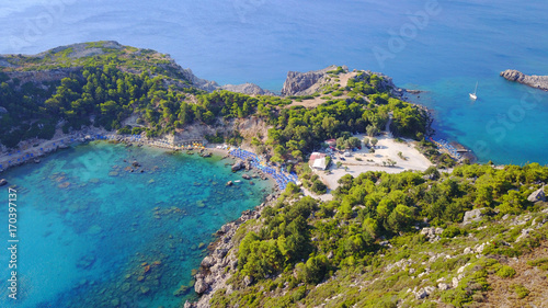 Aluminium Blauwe jeans August 2017: Aerial drone photo of famous beach of Ladiko near iconic Anthony Quinn Bay, Rodos island, Aegean, Dodecanese, Greece