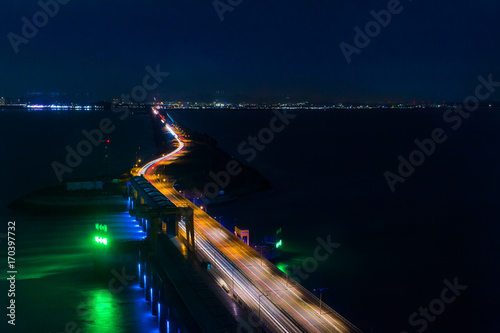 Fotobehang Nacht snelweg Songdo City International, night watch