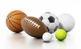 Sports balls isolated on white background. 3D illustration