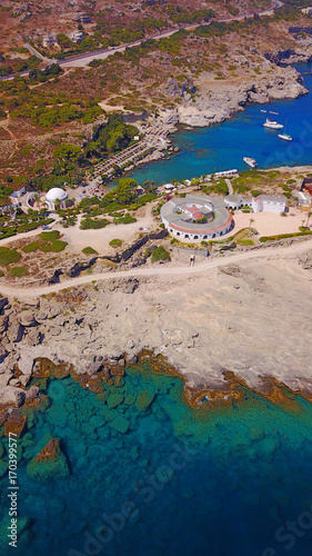 Fotobehang Diepbruine August 2017: Aerial drone photo of famous public spirngs of Kalithea in a fully restored state, Rodos island, Aegean, Dodecanese, Greece