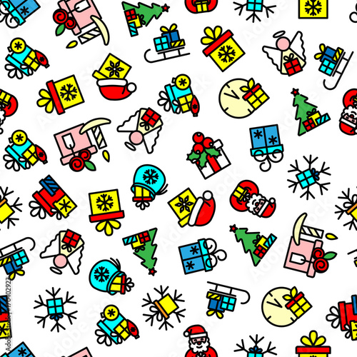 Seamless pattern. Gift boxes, snowflakes, winter Christmas and New Year holidays characters and symbols. Bright colors. Vector illustration