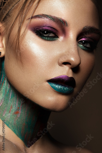 Plakát Beautiful girl with creative colorful makeup