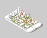 Fototapety Mobile gps and tracking concept. Location track app on touchscreen smartphone, on isometric city map background. 3d vector illustration.
