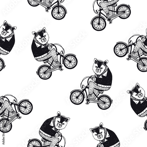 Funny seamless pattern with cute cartoon brown bear dressed in dark shirt riding bike on white background. Hand drawn vector illustration in retro style for wallpaper, fabric print, wrapping paper. - 170414583