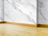 Empty Interior of white marble wall and parquet wood floor background - 170416173
