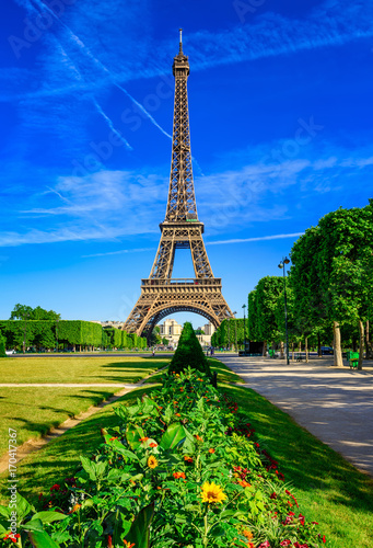 Foto op Aluminium Eiffeltoren Paris Eiffel Tower and Champ de Mars in Paris, France. Eiffel Tower is one of the most iconic landmarks in Paris. The Champ de Mars is a large public park in Paris.