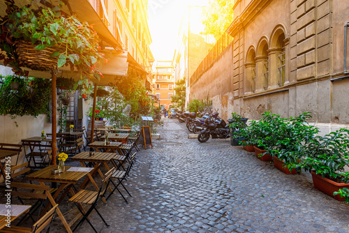 Papiers peints Rome Cozy old street in Trastevere in Rome, Italy