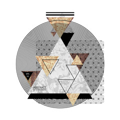 Abstract composition with textured geometric shapes. Marble composition. Trendy design poster. Vector illustration EPS10